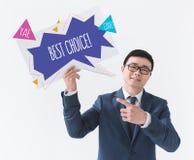 Homem de negócios asiático com cartão inspirador fotos de stock