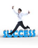Homem de negócios asiático feliz que salta um sinal do sucesso Imagens de Stock Royalty Free