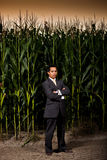 Homem de negócios asiático novo na frente de um campo de milho Imagens de Stock