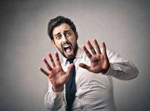 Homem de negócios assustado Imagens de Stock Royalty Free