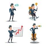 Homem de negócios bem sucedido Cartoons Inovação do negócio Homem com telefone planeamento Fotos de Stock