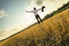 Homem de negócios bem sucedido com os braços abertos no campo Imagem de Stock Royalty Free