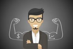 Homem de negócios bem sucedido, diretor financeiro, gerente, projeto liso, arte do vetor Imagem de Stock Royalty Free
