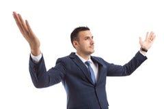 Homem de negócios bem sucedido do vencedor ou braços abertos do banqueiro largamente foto de stock royalty free
