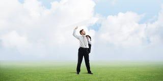 Homem de negócios bem sucedido e desenvolvimento imagem de stock royalty free