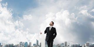 Homem de negócios bem sucedido e desenvolvimento fotos de stock royalty free