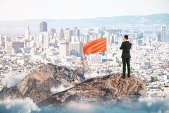 Homem de negócios bem sucedido na parte superior da montanha imagem de stock royalty free