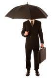 Homem de negócios bem sucedido no terno e na pasta formais, st da mala de viagem foto de stock