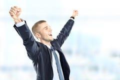 Homem de negócios bem sucedido que comemora Imagem de Stock