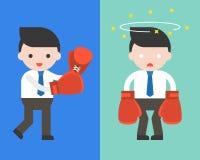 Homem de negócios bonito ou gerente com as luvas de encaixotamento, começando a luta a ilustração do vetor