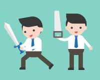 Homem de negócios bonito ou gerente que mantêm a espada e a serra, prontos para uso ilustração stock