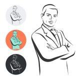 Homem de negócios, braços cruzados, ilustração do vetor Imagem de Stock Royalty Free