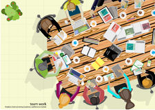 Homem de negócios Brainstorming Analysis do trabalho da equipe do vetor do plano de marketing Foto de Stock Royalty Free