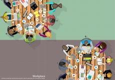 Homem de negócios Brainstorming Analysis do trabalho da equipe do vetor do plano de marketing ilustração royalty free