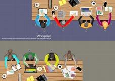 Homem de negócios Brainstorming Analysis do trabalho da equipe do vetor do plano de marketing ilustração stock