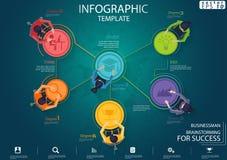 Homem de negócios Brainstorming para o molde de Infographic da ilustração do vetor da ideia e do conceito do projeto moderno d ilustração royalty free