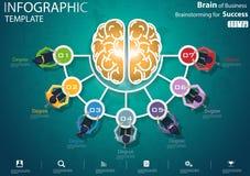 Homem de negócios Brainstorming para o molde de Infographic da ilustração do vetor da ideia e do conceito do projeto moderno d ilustração stock
