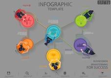 Homem de negócios Brainstorming para o molde de Infographic da ilustração do vetor da ideia e do conceito do projeto moderno d ilustração do vetor