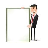 Homem de negócios branco dos desenhos animados que prende um sinal em branco Imagens de Stock