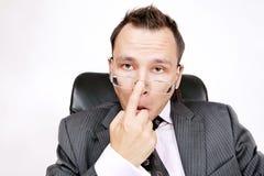 Homem de negócios. Céptico ou interessado. imagens de stock royalty free