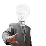 Homem de negócios, cabeça da ampola fotografia de stock