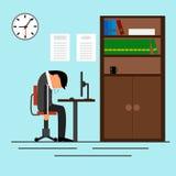 Homem de negócios cansado que dorme no escritório ilustração royalty free