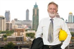 Homem de negócios caucasiano Architect ou coordenador fotografia de stock