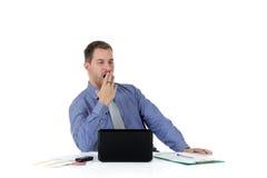 Homem de negócios caucasiano atrativo novo, cansado fotografia de stock royalty free