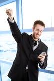 Homem de negócios caucasiano feliz fotografia de stock
