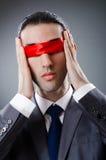Homem de negócios cegado pela fita Fotos de Stock Royalty Free