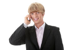 Homem de negócios chamada Imagens de Stock Royalty Free