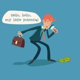 Homem de negócios Character com lupa e Foto de Stock Royalty Free