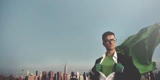 Homem de negócios Cityscape Leadership Concept do super-herói imagens de stock