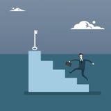Homem de negócios Climb Stairs Up para fechar o conceito bem sucedido novo da ideia do crescimento do homem de negócio ilustração do vetor