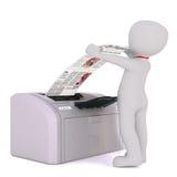 Homem de negócios Collecting Print dos desenhos animados da impressora Imagem de Stock