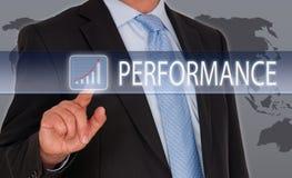 Homem de negócios com écran sensível do desempenho imagem de stock royalty free