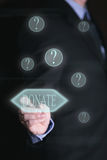 Homem de negócios com écran sensível, doação do conceito Fotografia de Stock