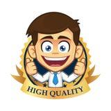 Homem de negócios com ícone da garantia ilustração stock