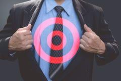 Homem de negócios com alvo no negócio Objetivo de negócios e alvo Imagem de Stock