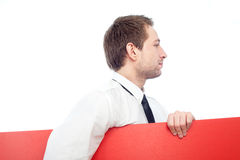 Homem de negócios com anúncio Foto de Stock