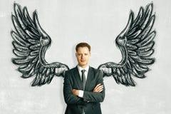 Homem de negócios com asas tiradas Imagens de Stock