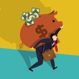 Homem de negócios com banco Piggy Foto de Stock Royalty Free