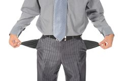Homem de negócios com bolsos vazios Fotografia de Stock