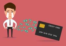 Homem de negócios com cartão de crédito, conceito do débito ilustração royalty free