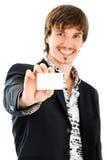 Homem de negócios com cartão em branco Fotografia de Stock