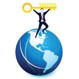 Homem de negócios com chave do sucesso Fotografia de Stock