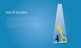 Homem de negócios com chave do sucesso Imagem de Stock Royalty Free