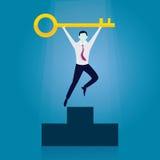 Homem de negócios com chave do sucesso Imagens de Stock Royalty Free