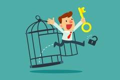Homem de negócios com a chave dourada livre ele mesmo da gaiola Imagens de Stock Royalty Free