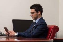 Homem de negócios com computador Fotografia de Stock